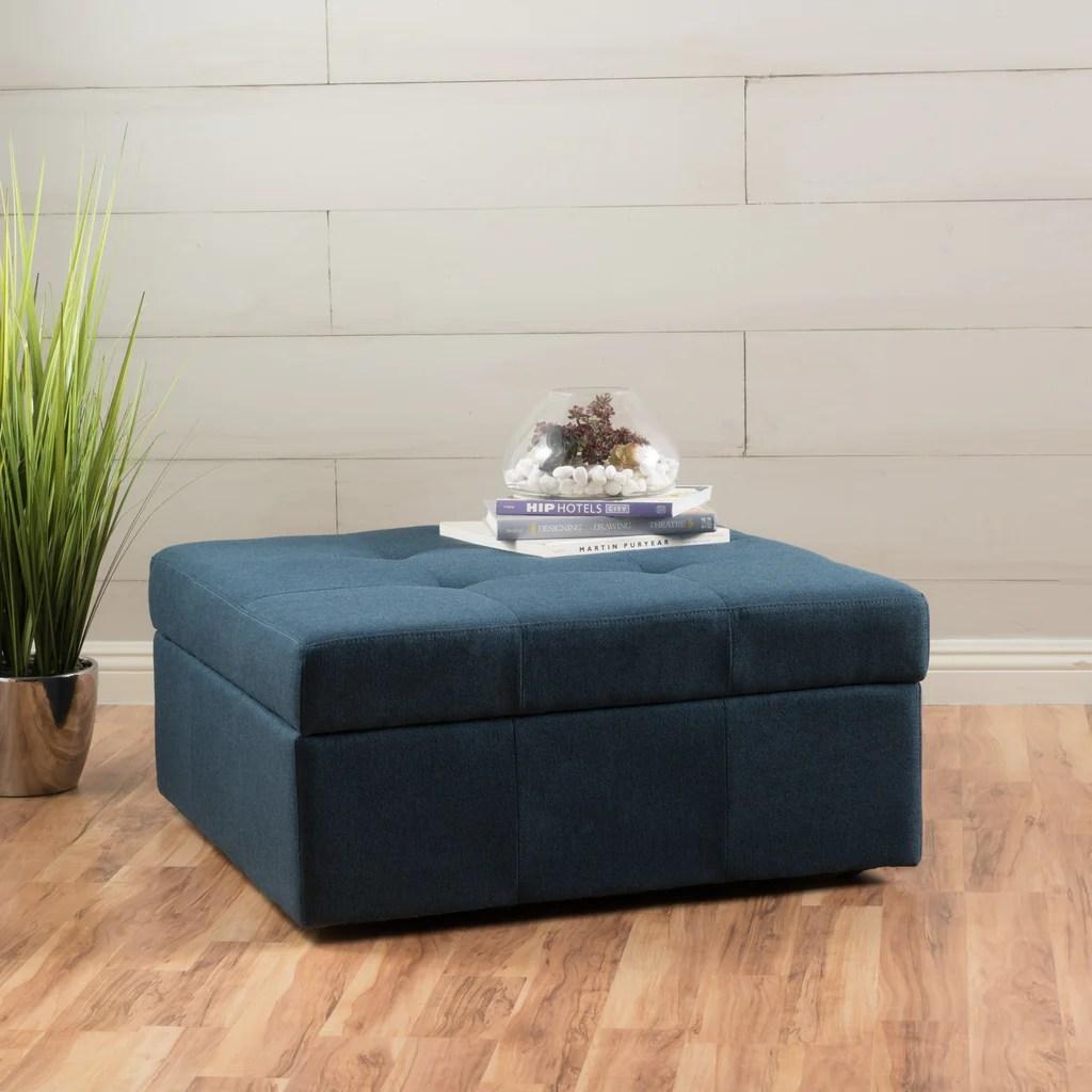 square tufted fabric storage ottoman