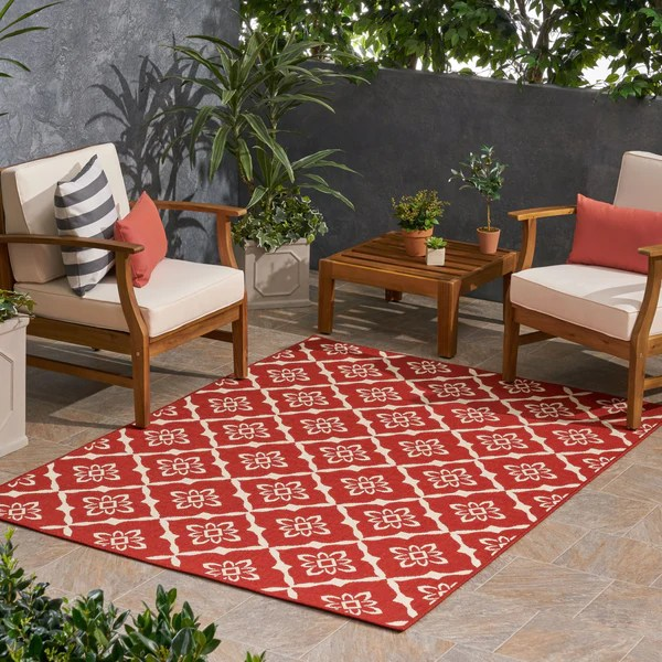 outdoor trellis area rug red and ivory