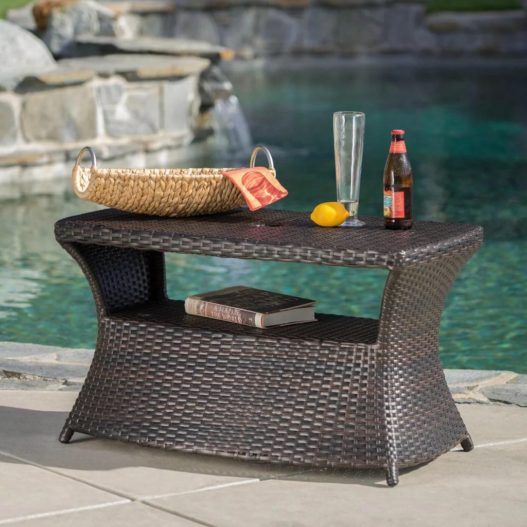 outdoor modern wicker shelf side table