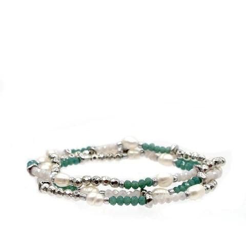 teal crystal beaded pearl wrap bracelet