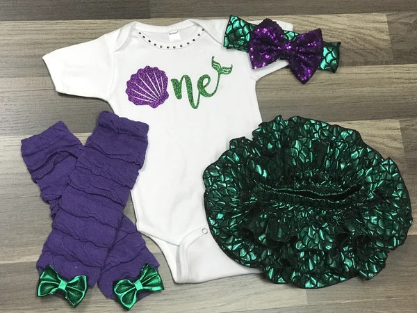 Mermaid First Birthday Outfit Paisley Bows