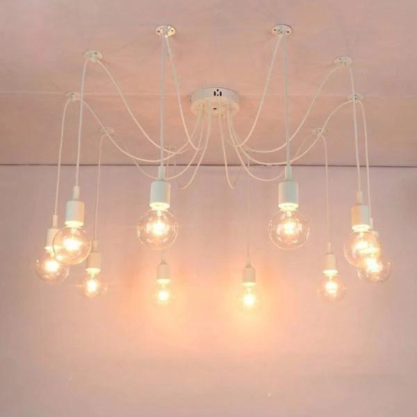 suspension lustre araignee blanche 4 8 10 12 14 16 tetes