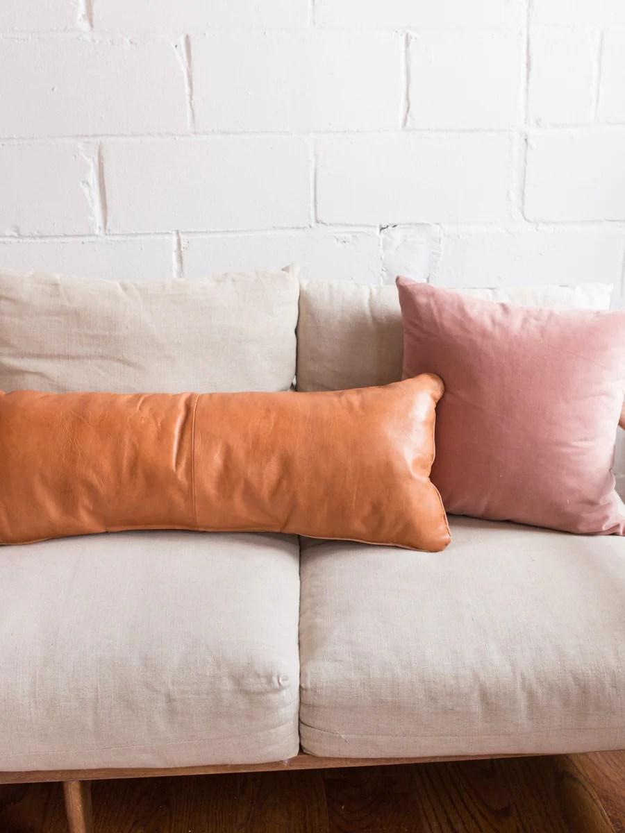 leather lumbar pillow in tobacco
