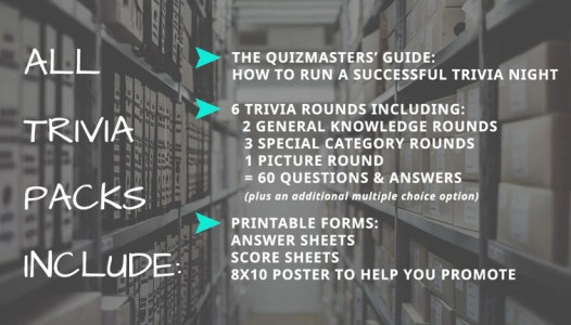 """Your 90s Trivia pack and ALL Trivia packs include: The Quizmasters' Guide: How to Run a Successful Trivia Night. 6 trivia rounds including: 2 general knowledge rounds + 3 special category rounds + 1 picture round = 60 questions & answers (plus an additional multiple choice option.) Printable Forms: Answer sheets, Score sheets, 8X10 poster to help you promote! The Quizmasters trivia """"its for the nerds"""""""