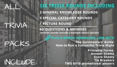 "Your Music Fans Trivia pack and ALL Trivia packs include: The Quizmasters' Guide: How to Run a Successful Trivia Night. 6 trivia rounds including: 2 general knowledge rounds + 3 special category rounds + 1 picture round = 60 questions & answers (plus an additional multiple choice option.) Printable Forms: Answer sheets, Score sheets, 8X10 poster to help you promote! The Quizmasters trivia ""its for the nerds"""