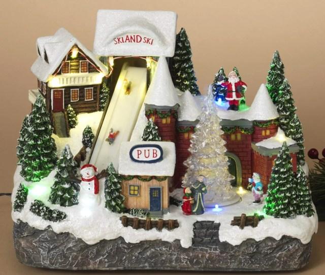Animated Musical Christmas Ski Village With Lights And Rotating Tree Animated Holiday Decoration