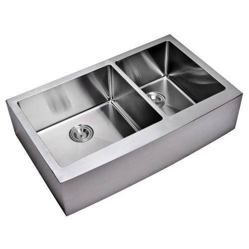 water creation sssg ad 3622b 16 36 stainless steel double bowl farmhouse sink