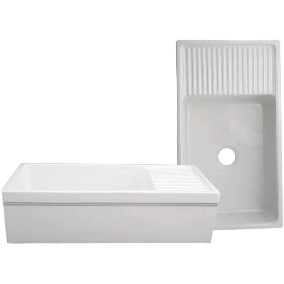 whitehaus vintage whqd540 36 white single bowl fireclay farmhouse sink w drainboard