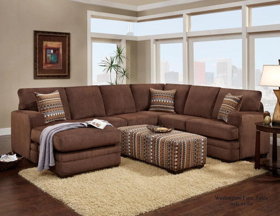 hillel chocolate brown sectional sofa with chaise lounge arkansas furniture mart