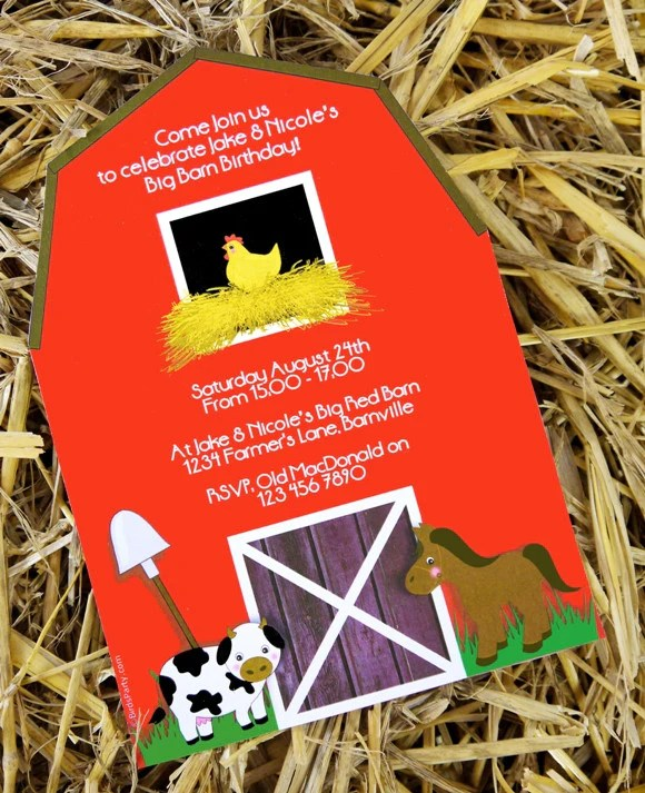 barnyard birthday party printable invitations
