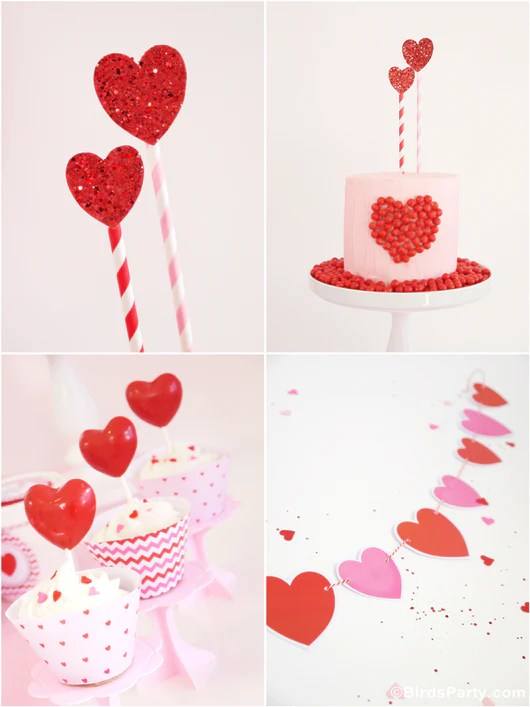 Valentines Day Hearts Party Printables Supplies