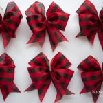 Red Buffalo Check Christmas Tree Bow Ornaments Set Of 12 Kate Said Yes Weddings