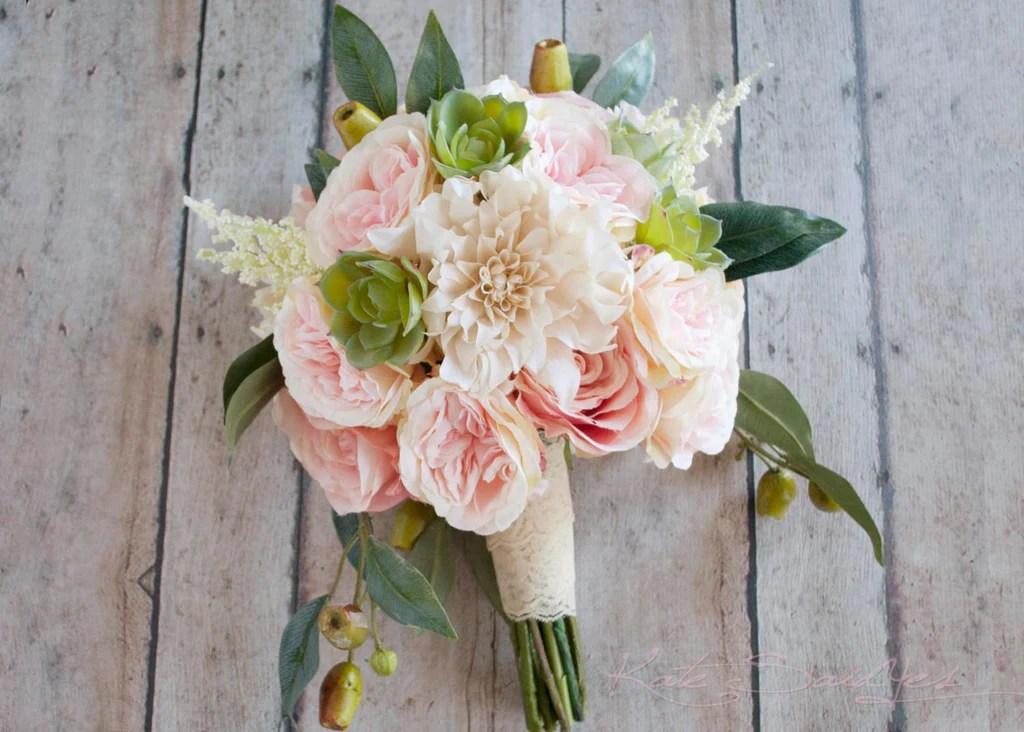 Boho Garden Rose And Dahlia Succulent Wedding Bouquet