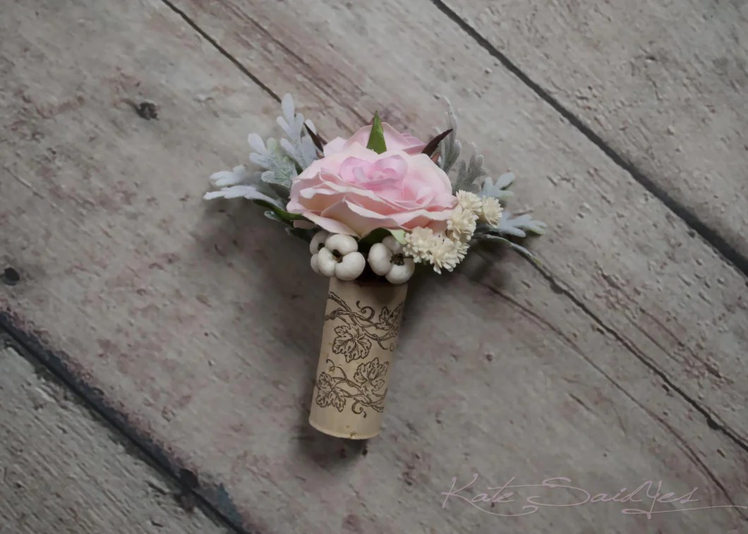 Blush Pink Rose Boutonniere With Dusty