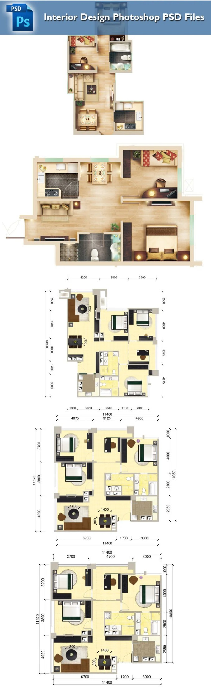 15 Types Of Interior Design Layouts Photoshop PSD Template V3