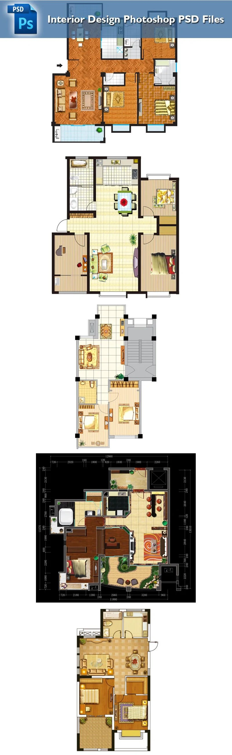 15 Types of Interior Design Layouts Photoshop PSD Template V.2