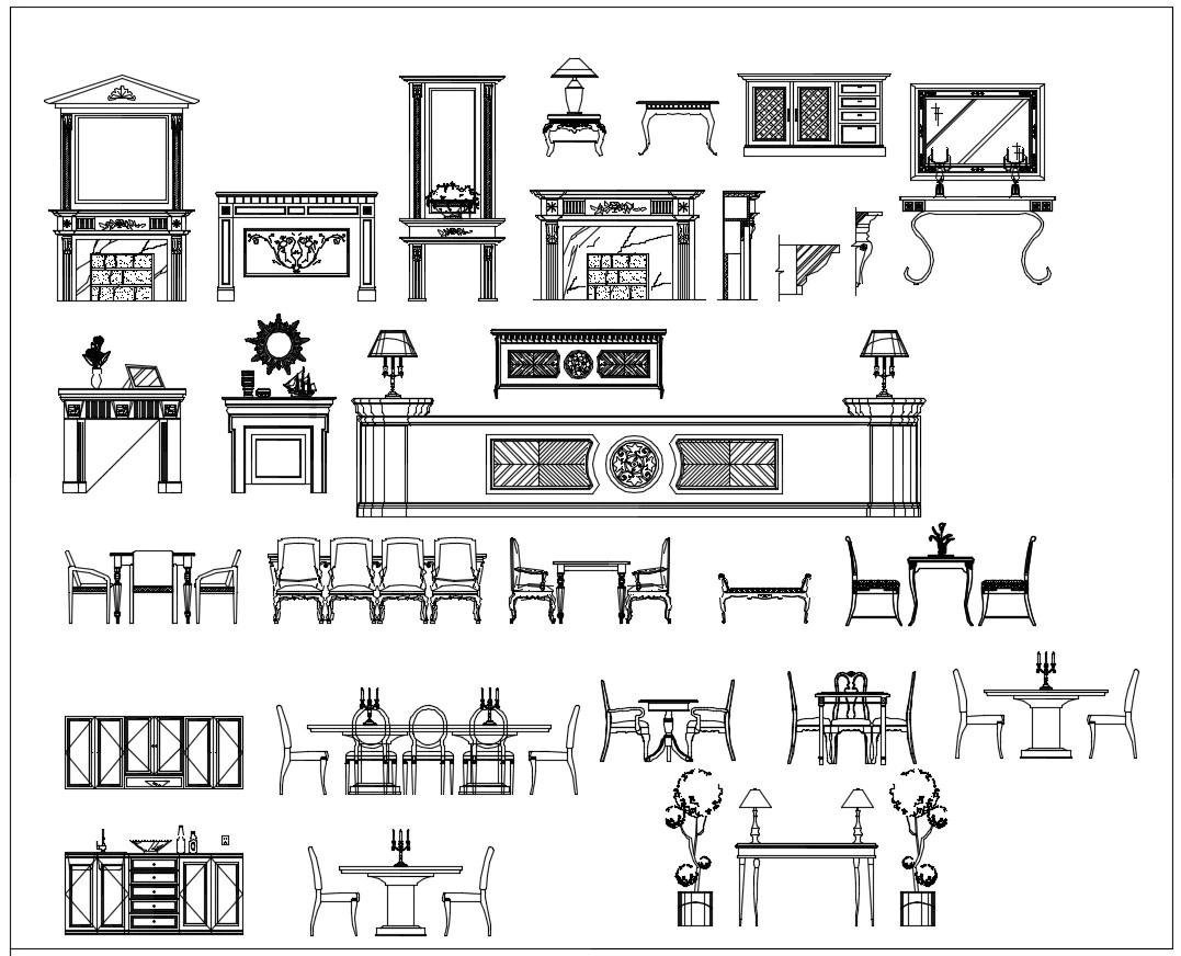 Over 500+ Neoclassical Interiors Decor, Decorative elements-Frame,Pattern,Border,Door,Windows,Cabinet,Lattice,Ceiling,Paving