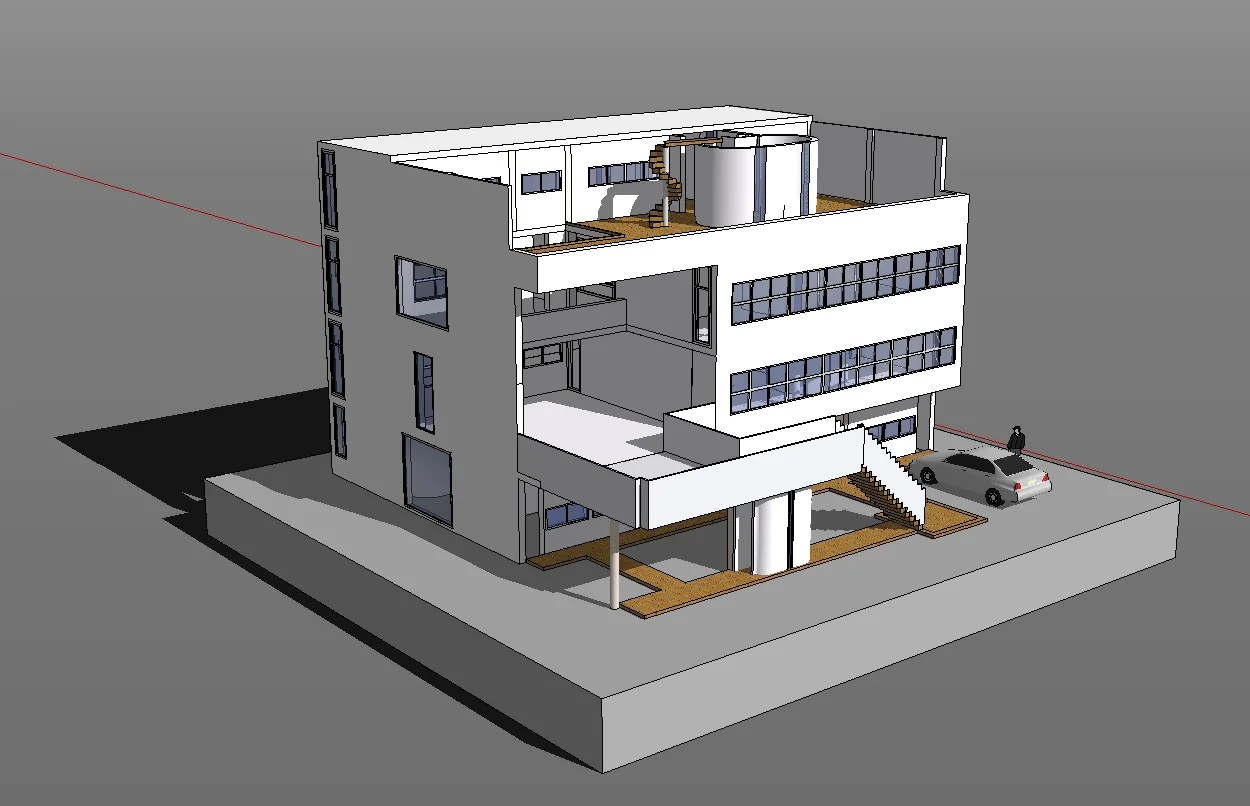 Sketchup 3D Architecture models-Villa Stein(Le Corbusier) - Download AUTOCAD Blocks,Drawings ...