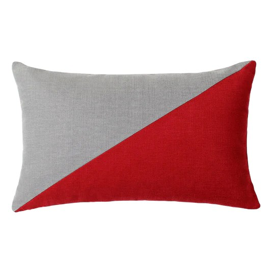 duo red and gray throw pillow cover