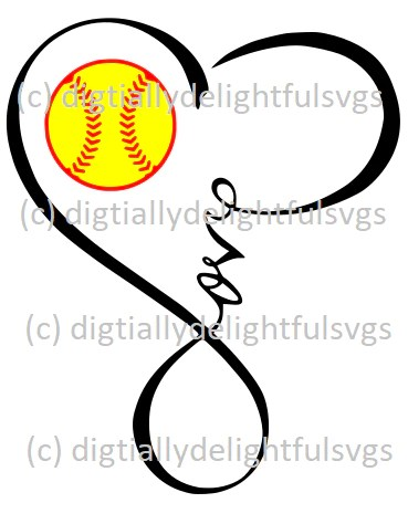 Download Love Softball Heart Infinity Symbol - Digitallydelightfulsvgs