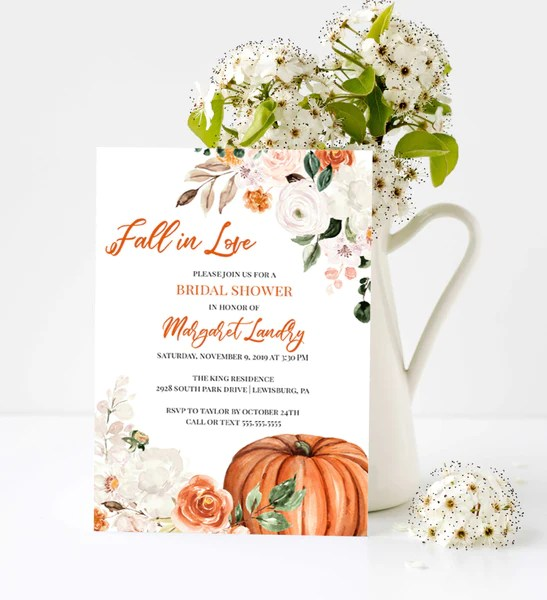 Not into an afternoon full of tea sandwiches and opening presents? Botanica Fall Pumpkin Bridal Shower Invitation Fall In Love Raspberry Creative