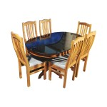 Ganga Oval Solid Teak Wood Dining Set Glass Top Table With 6 Chairs Teakpark