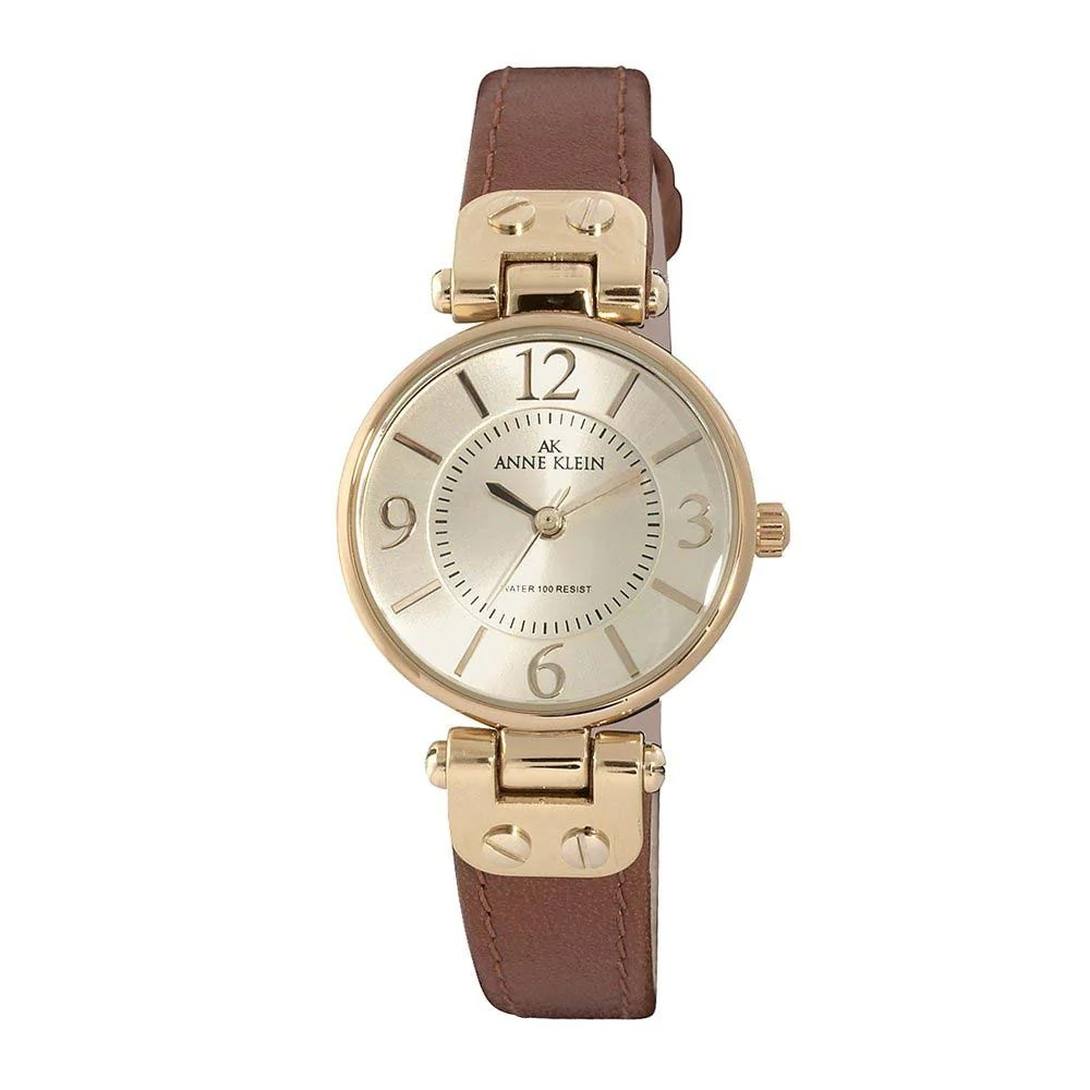 Anne Klein 10-9442CHHY Women's Beige Dial Brown Strap Rose Gold Tone Metal Watch