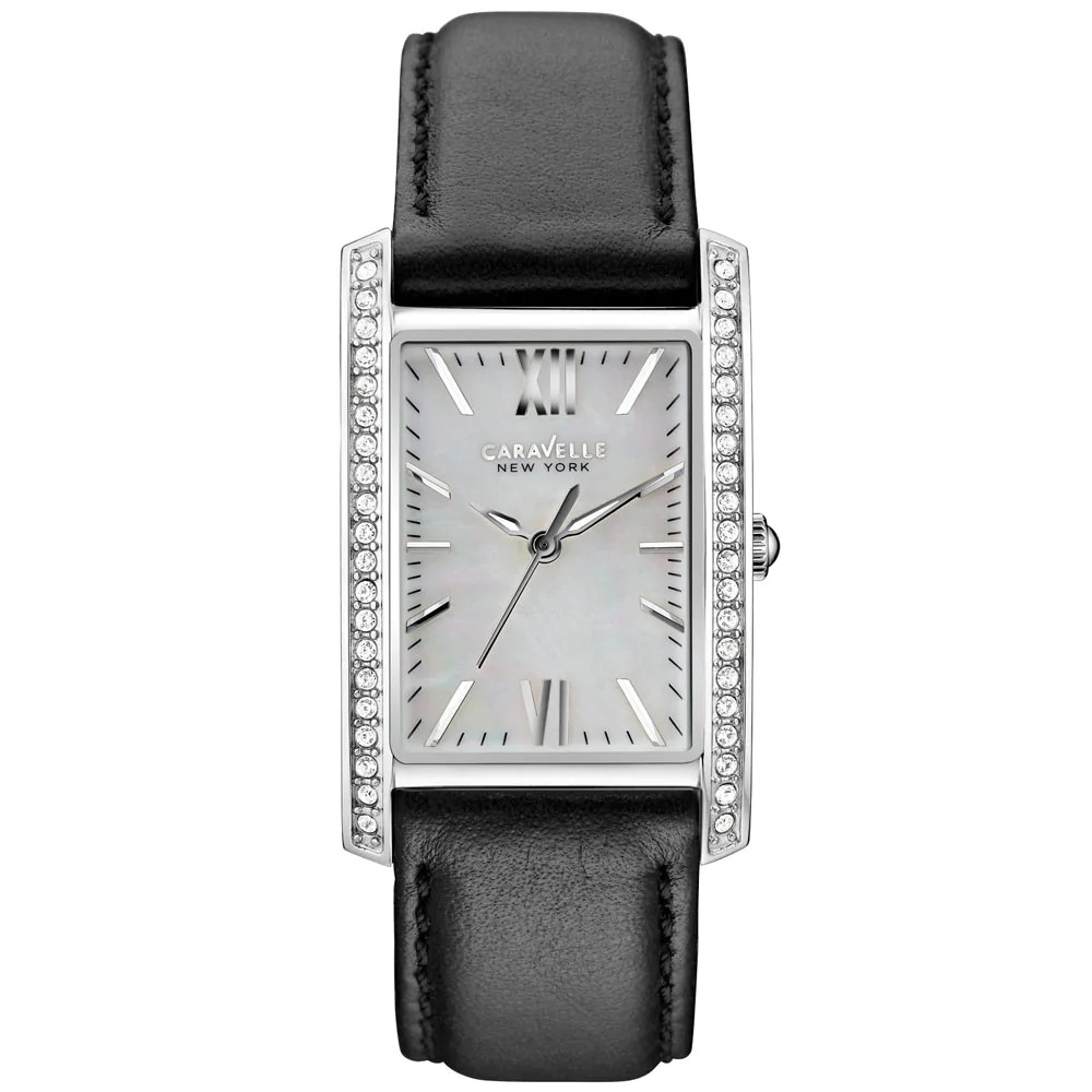 Caravelle 43L162 Women's Crystal MOP White Dial Leather Band Watch