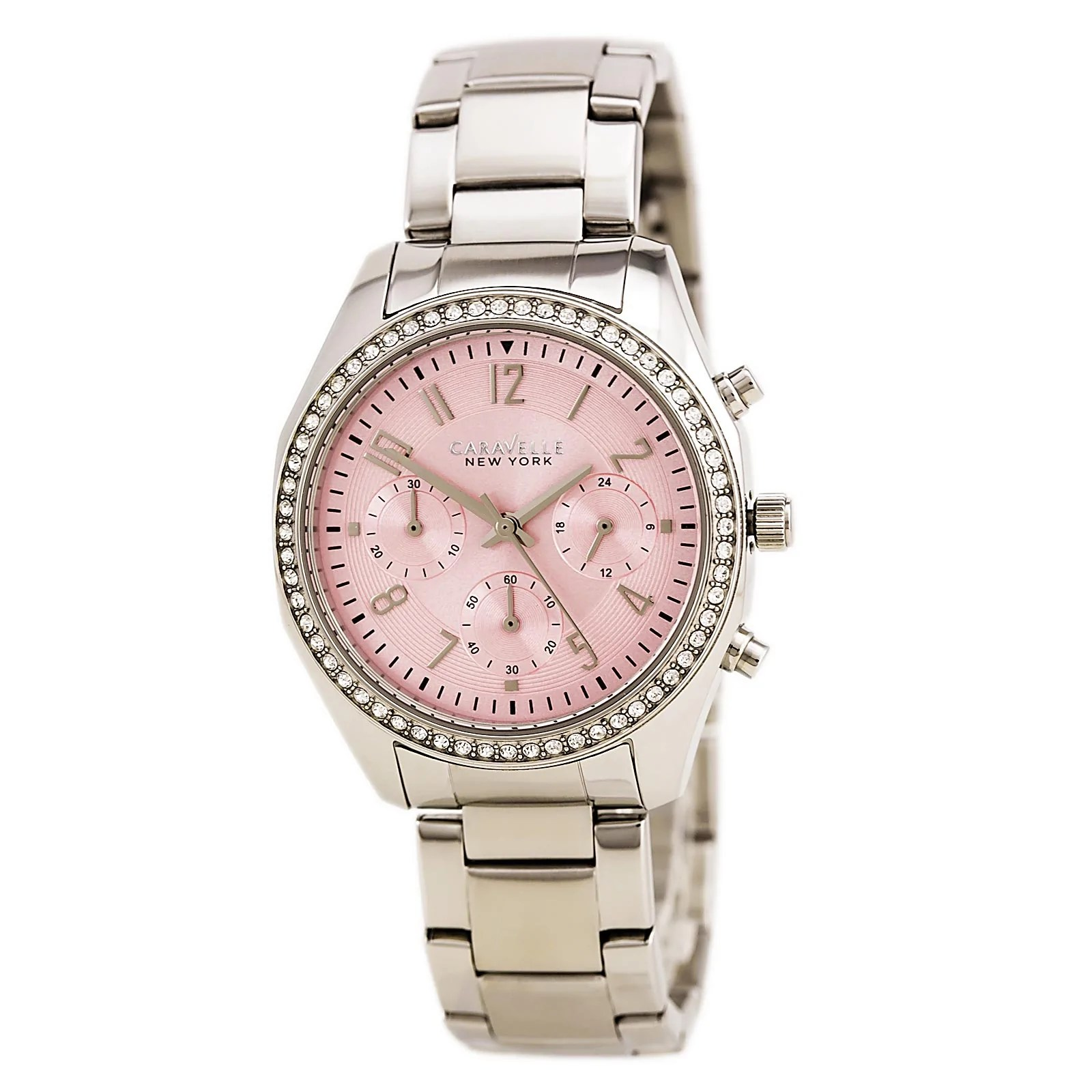 Caravelle 43L191 Lady's Crystal Pink Dial SS Chronograph Watch