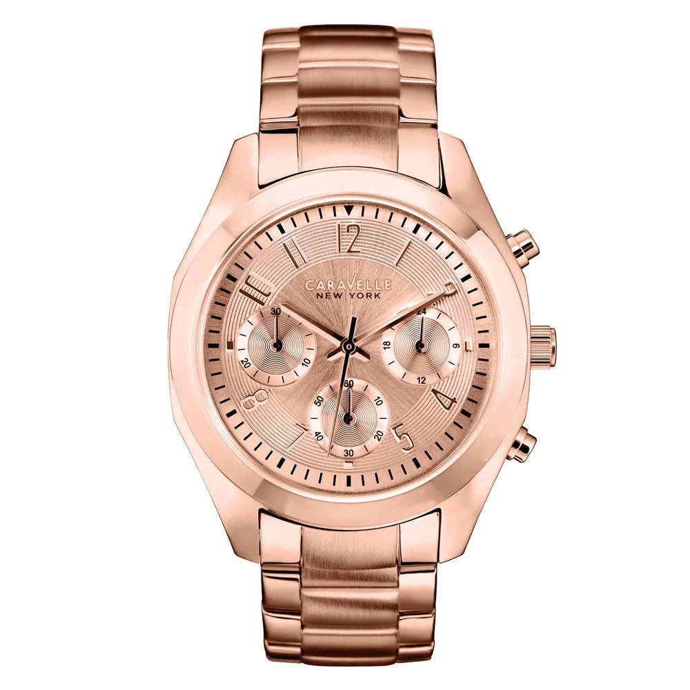 Caravelle 44L115 Women's Rose Gold Dial Chrono Rose Gold SS Watch