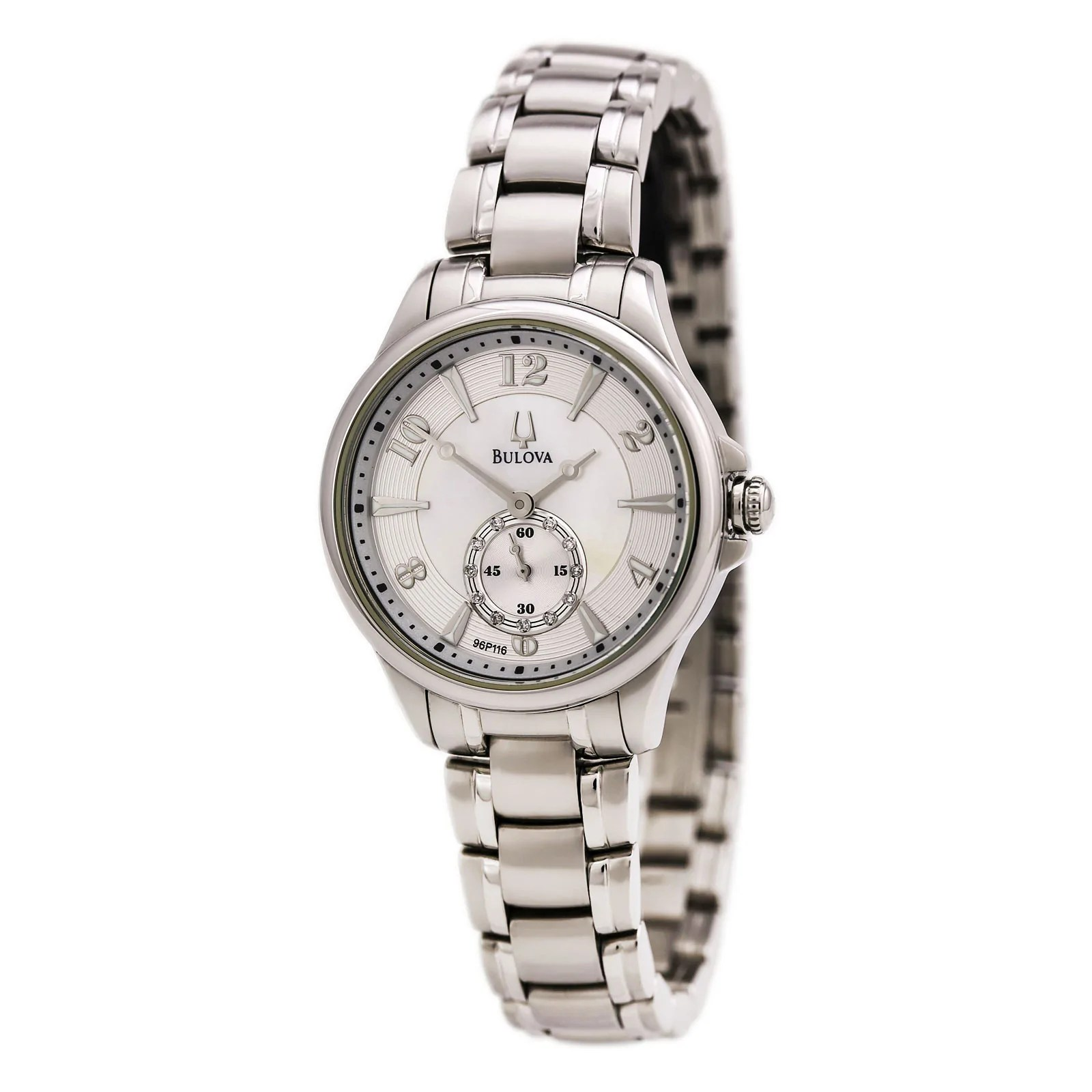 Bulova 96P116 Lady's Quartz White MOP Dial Steel Bracelet Watch