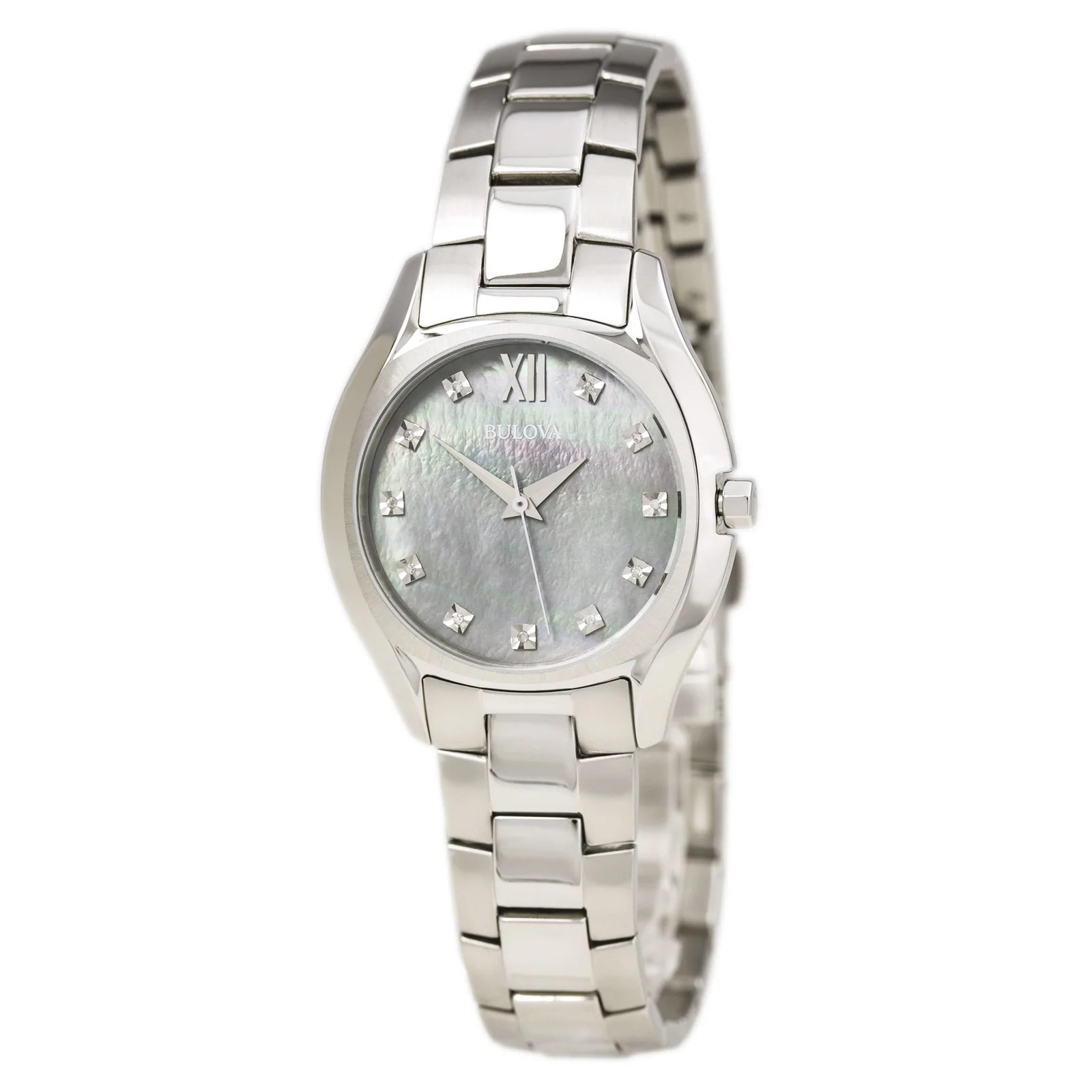 Bulova 96P158 Lady's Diamond Accented Grey MOP Dial Watch
