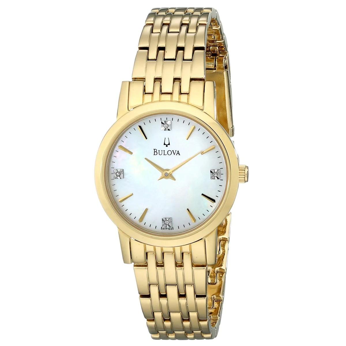 Bulova 97P103 Ladys MOP Dial Yellow Gold SS Bracelet Diamond Watch