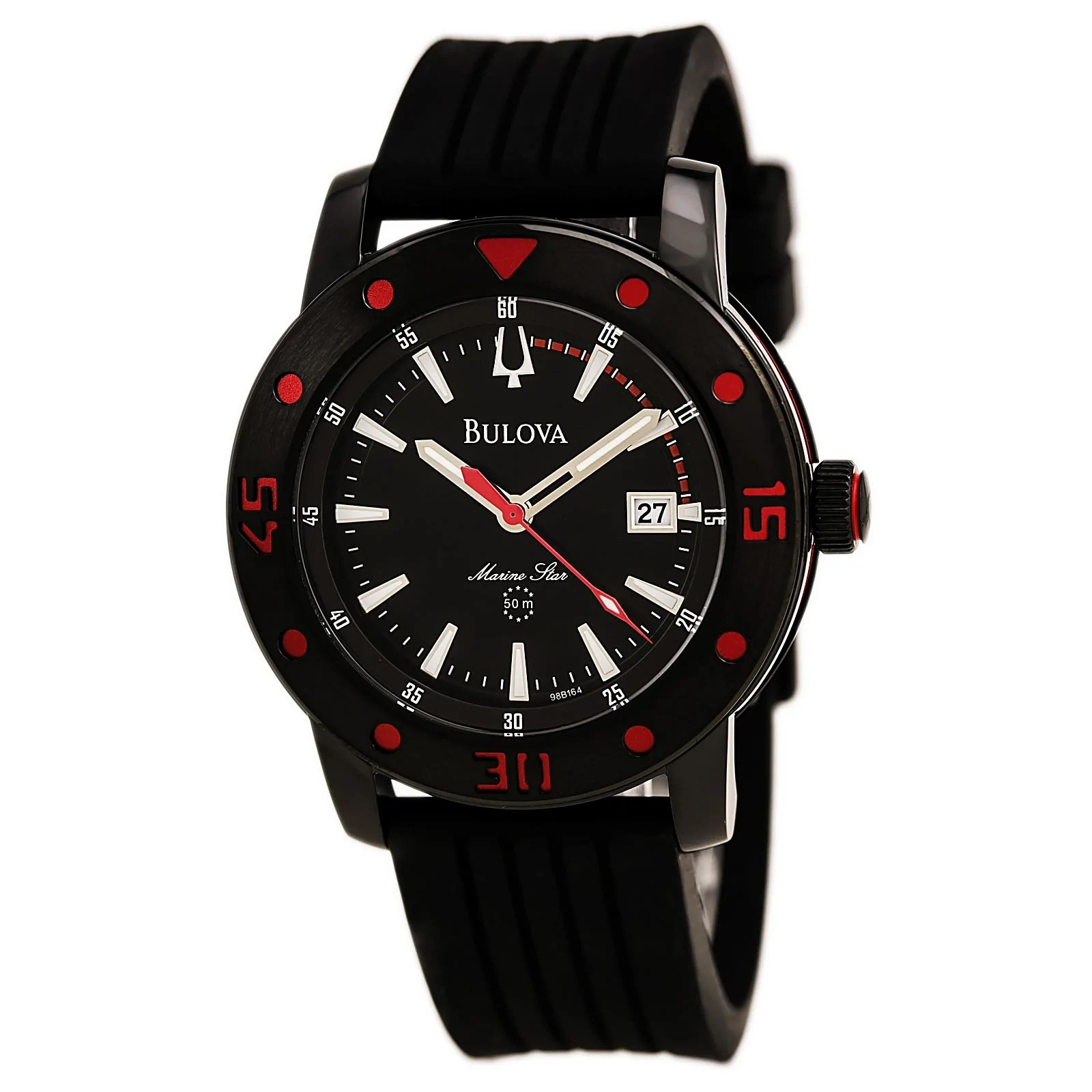 Bulova 98B164 Men's Sport Black Dial Black Steel Black Strap Watch