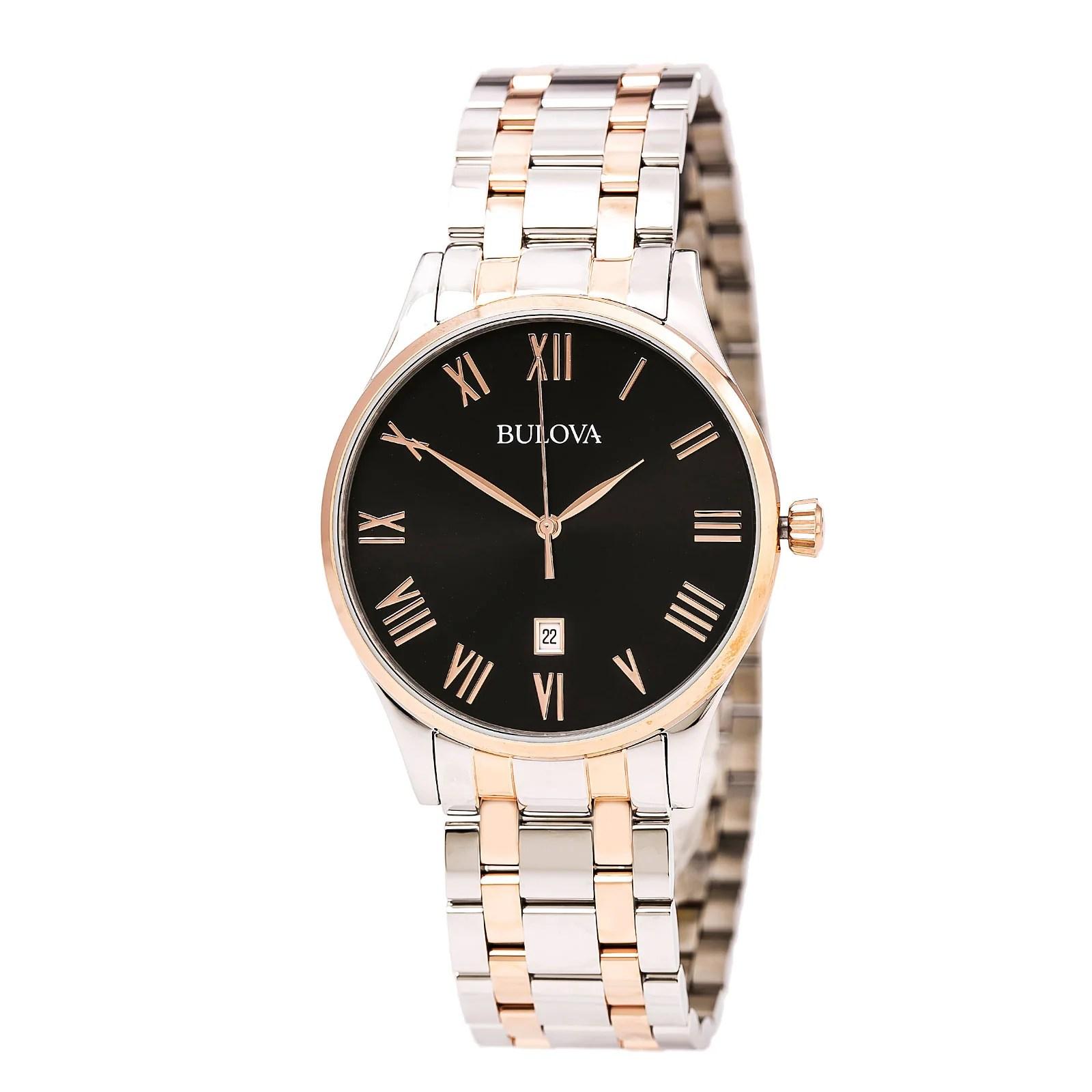 Bulova 98B279 Gent's Black Dial Two Tone Steel Quartz Date Watch
