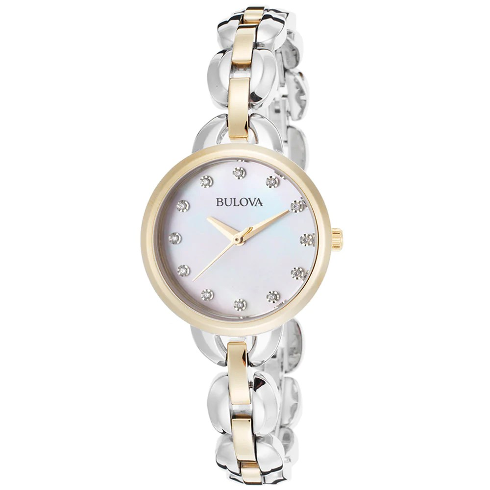 Bulova 98L208 Ladys Two Tone Steel Crystal Accented MOP Dial Watch