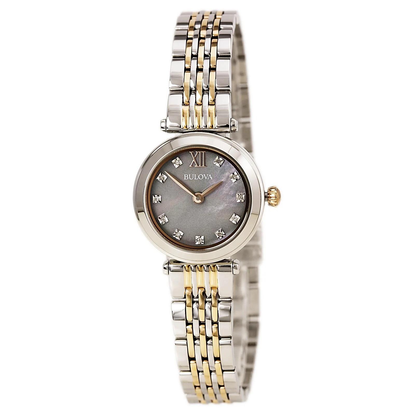 Bulova 98P156 Lady's Diamond Two Tone Rose Gold Steel Watch