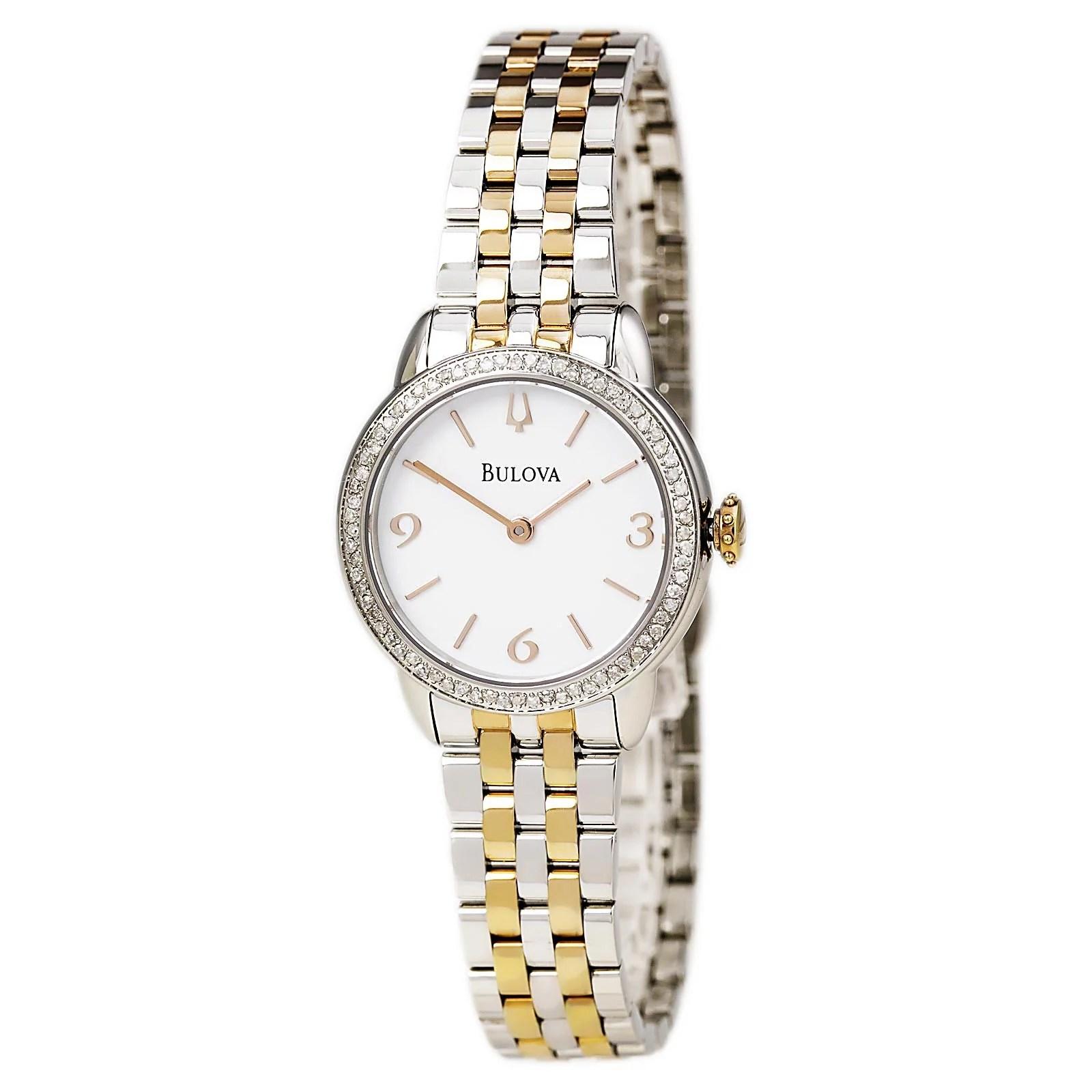 Bulova 98R182 Women's Diamond White Dial TT Steel Bracelet Watch