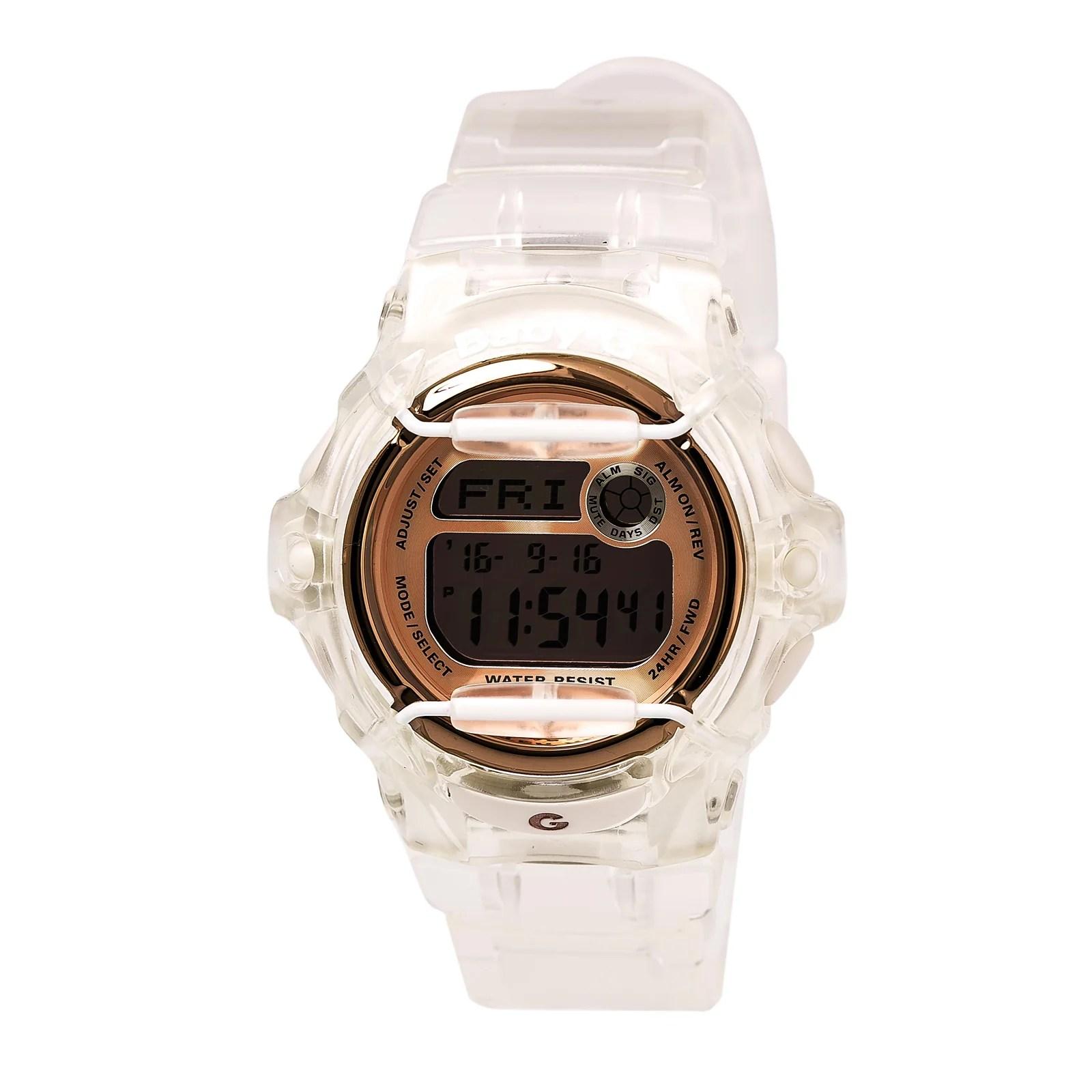 Casio BG169G-7B Lady's Rose Gold & Grey Digital Dial Dive Watch