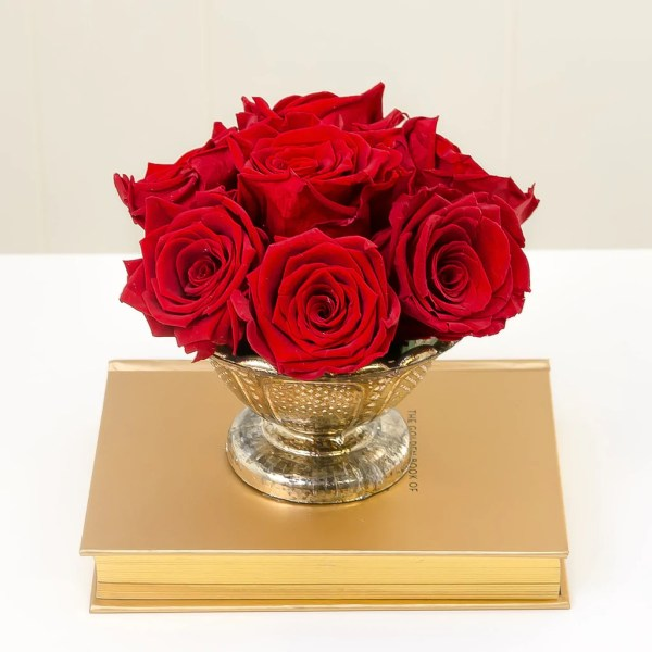 Red Eternity Roses Gold Urn Vase     Flovery Red Eternity Roses Gold Urn Vase