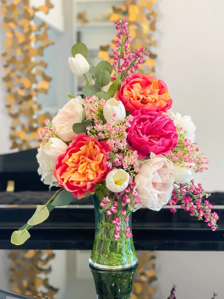 large real touch flower arrangement large dining table centerpiece real touch pink magenta peony centerpiece tulip hydrangea centerpiece