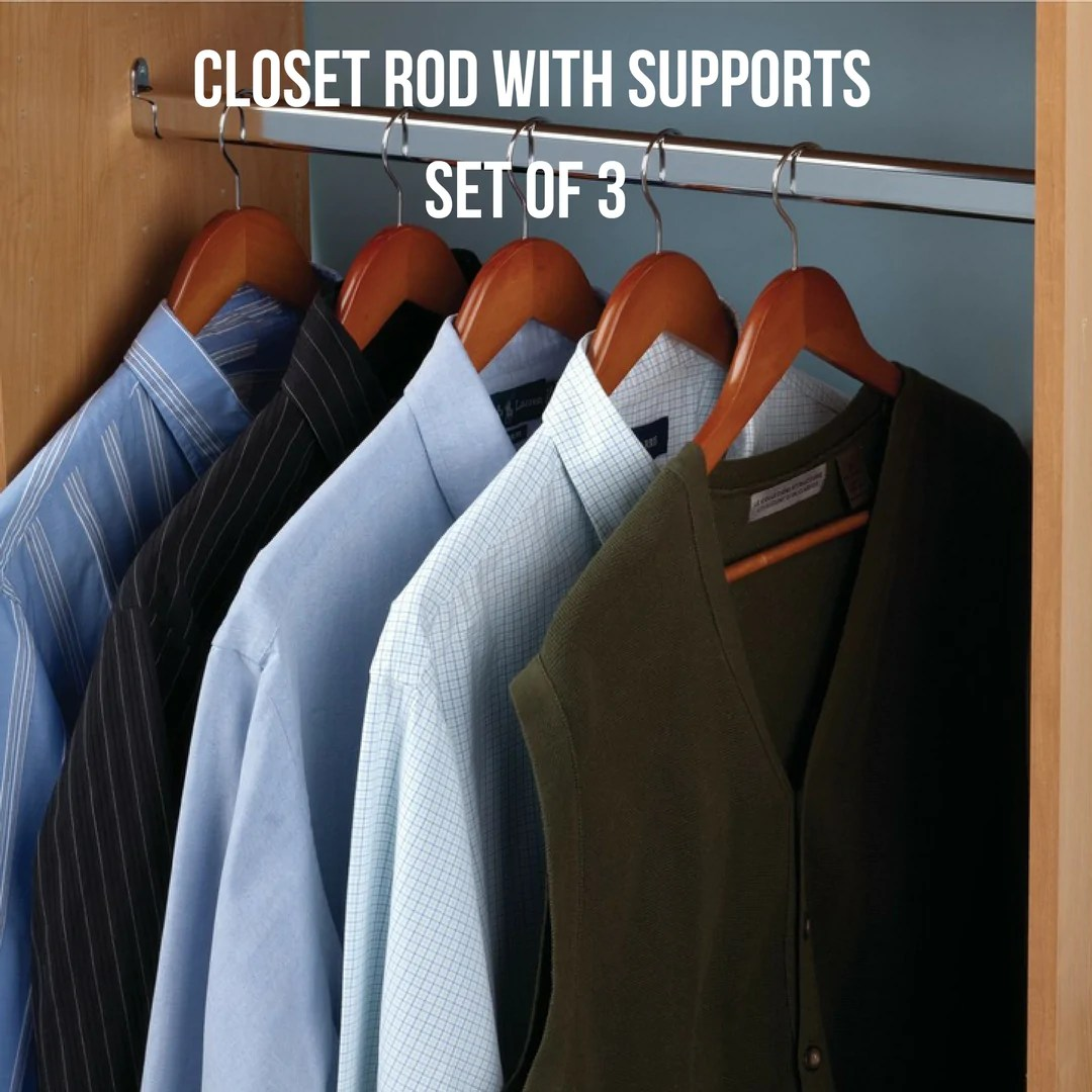 Oval Closet Rod By Hafele With End Supports Set Of 3