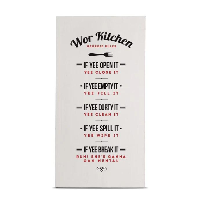 Geordie Kitchen Rules Tall Wood Geordie Gifts