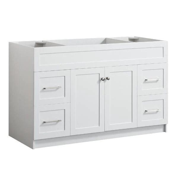 https www dreambathroomvanities com products ariel hamlet 54 white modern single sink bathroom vanity base cabinet f055s bc wht 1