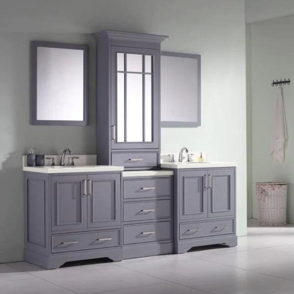 ariel stafford 85 grey contemporary double sink bathroom vanity m085d gry