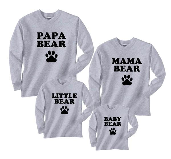 Bear Family Matching Shirts Mama Papa Baby Brother