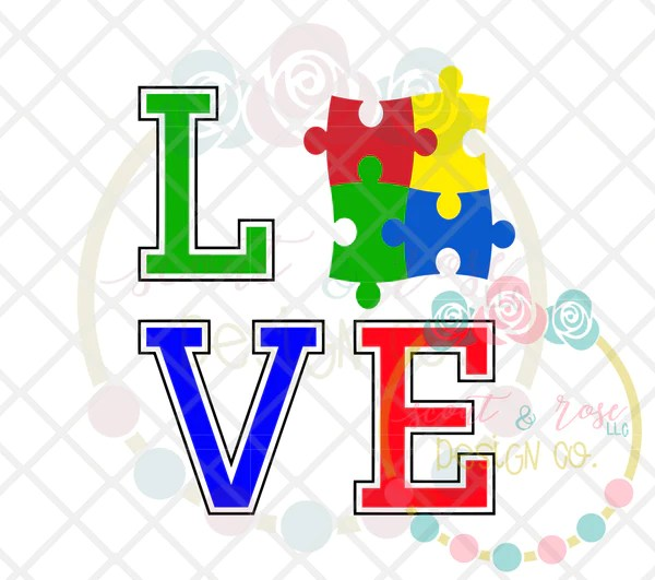 Download Autism LOVE SVG DXF PNG - Scout and Rose Design Co
