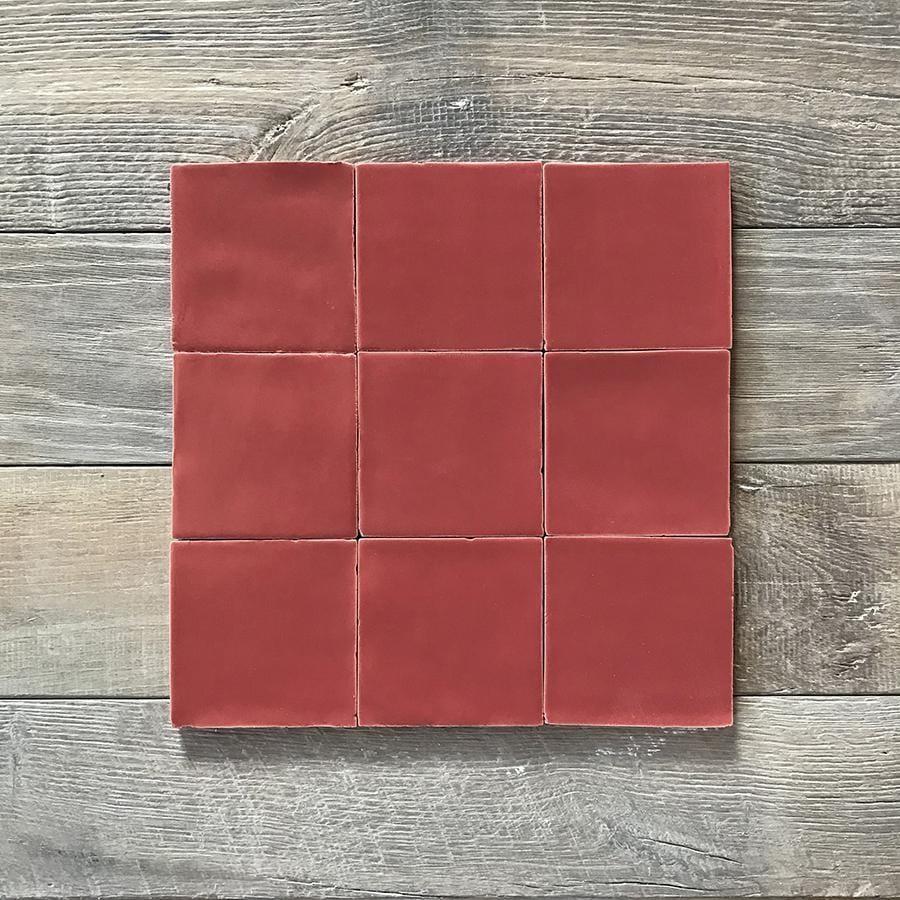 lobster red glazed square tile