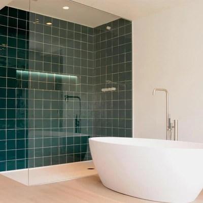 sea green glazed square tile