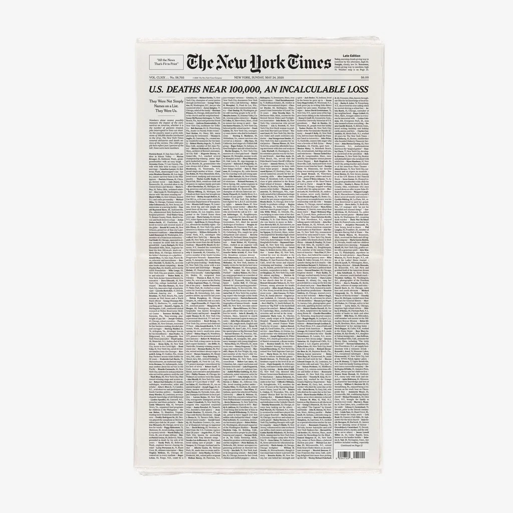 An Incalculable Loss: New York Times Newspaper – NYTStore